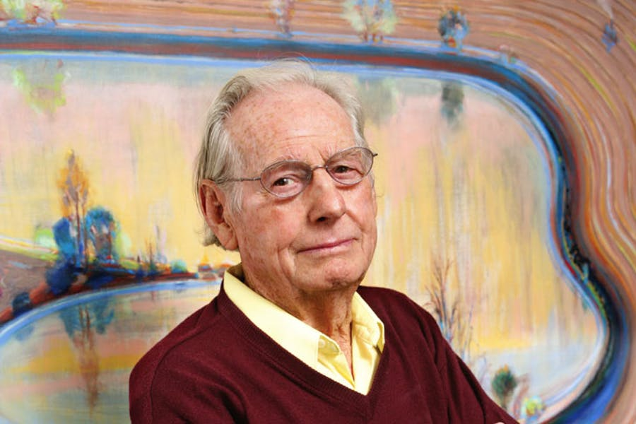 Wayne Thiebaud, photographed in front of Fields and Furrows (2002), in 2013. Photo: Sacramento State/Mary Weikert