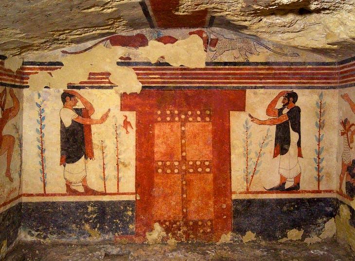 Frescoes in the Tomb of the Augurs, Necropolis of Monterozzi, Tarquinia. Courtesy Mibact. Soprintendenza Archeologia, Belle Arti e Paesaggio per l'Area Metropolitana di Roma, la Provincia di Viterbo e l'Etruria Meridionale