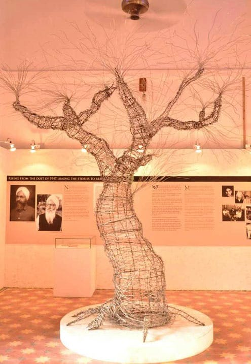 Tree of Hope at the museum's soft opening on 24 October 2016. Visitors are encouraged to write their memories and comments on paper leaves and hang them on the branches. Photo courtesy Partition Museum