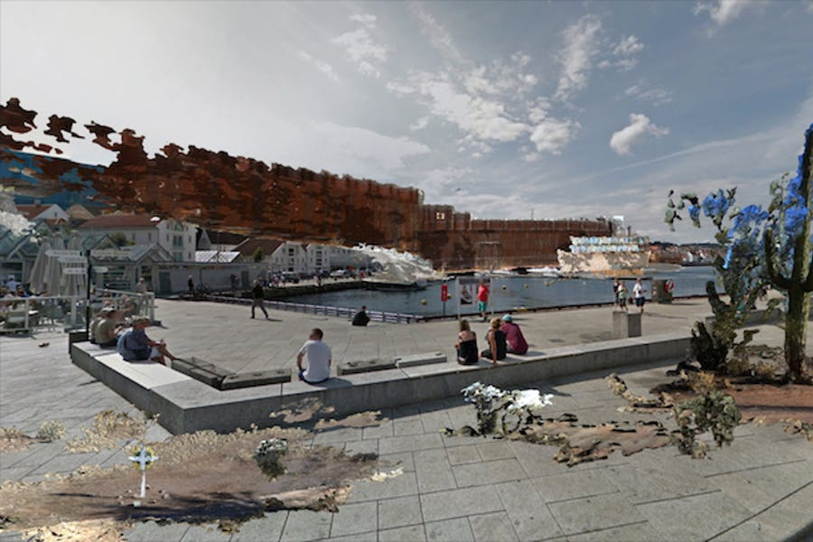 Virtual U.S./Mexico Border (augmented reality public art project; 2016), John Craig Freeman. Courtesy of Screen City Biennial, Stavanger, Norway