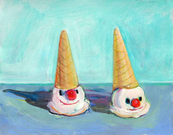 Clown Cones (2000), Wayne Thiebaud. Courtesy White Cube; © Wayne Thiebaud/DACS, London/VAGA, New York 2017
