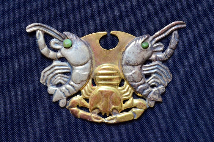 Moche nose ornament, about 400 AD. Photo: Fundación Augusto N. Wiese