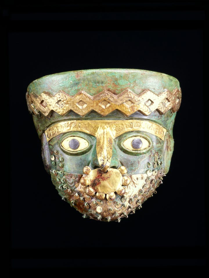 Moche Burial Mask, around 525–550 AD. Courtesy of Museo de Sitio Chan Chan, Ministerio de Cultura del Perú, Photo: Christopher B. Donnan