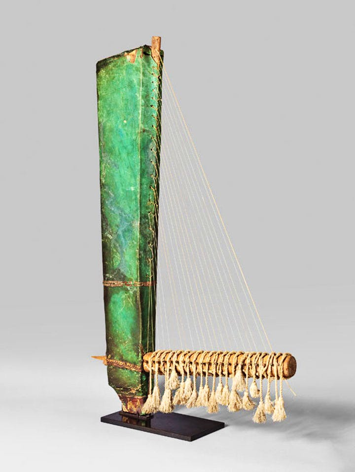 Angle harp (or trigone), Late period of ancient Egypt. Musée du Louvre