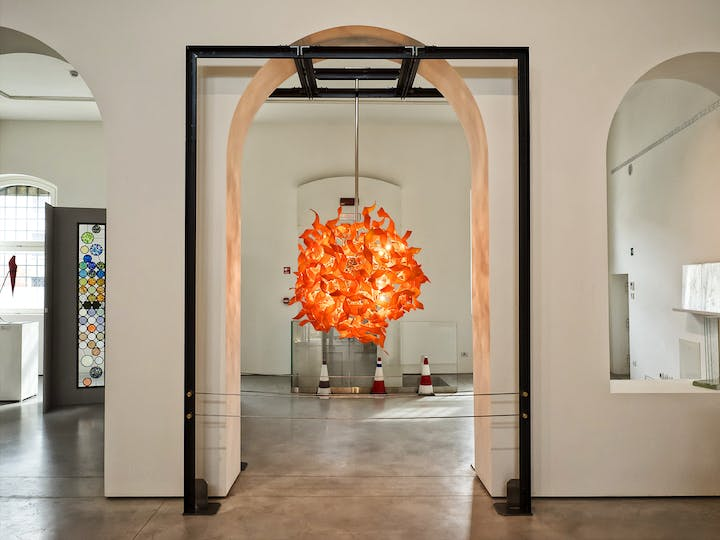 Installation view of Nastro at the Museo del Vetro, Murano glass, by Andromeda.