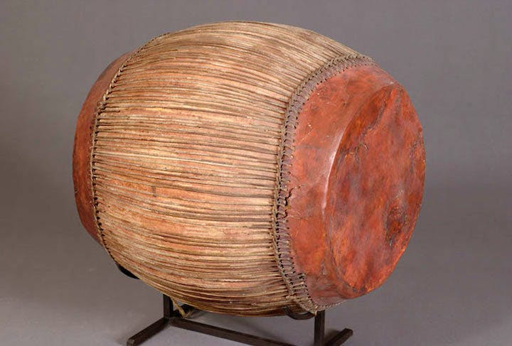 Wood and leather drum, Late period of ancient Egypt. Musée du Louvre