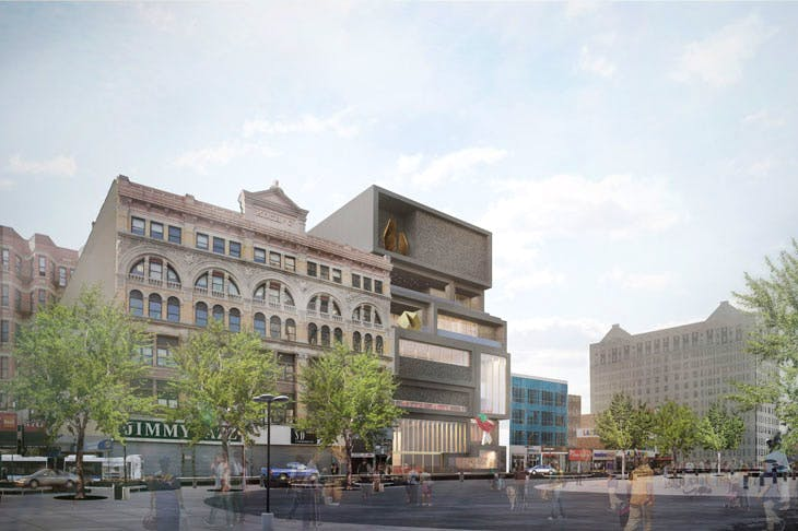 Exterior vew from 125th Street Plaza. Courtesy Adjaye Associates and Studio Museum, Harlem