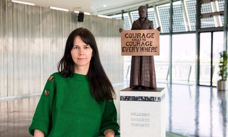 Gillian Wearing with a model of suffragist leader Millicent Fawcett, Photo: Caroline Teo/GLA/PA