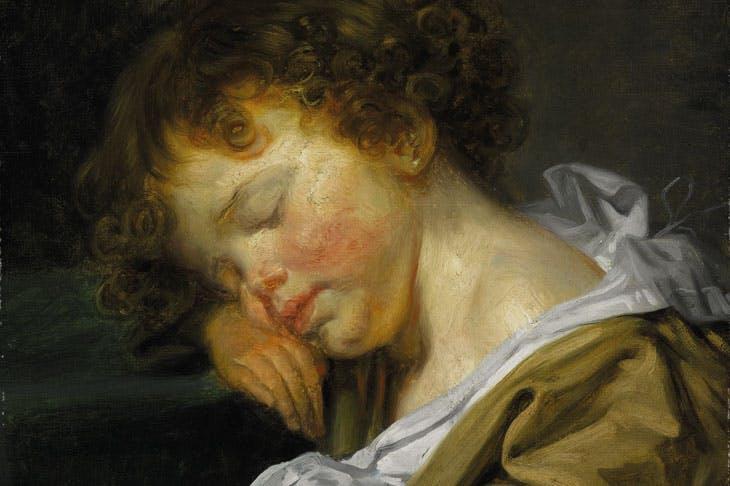 Jeune garcçon endormi, à mi–hauteur, profil gauche, (detail), Jean–Baptiste Greuze (1725–1805). Galerie Eric Coatelem (price on application)