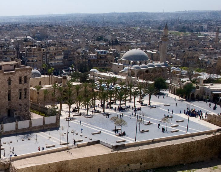 Ceremonial plaza at the entrance to the Aleppo Citadel, seen in April 2011 as restored by the Aga Khan Trust before the start of the Syria conflict. All historic buildings in this photo were destroyed by massive tunnel bombs in 2014. In the centre is the Khosrofiye Mosque, the work of Sinan, the great Ottoman court architect to Suleiman the Magnificent.