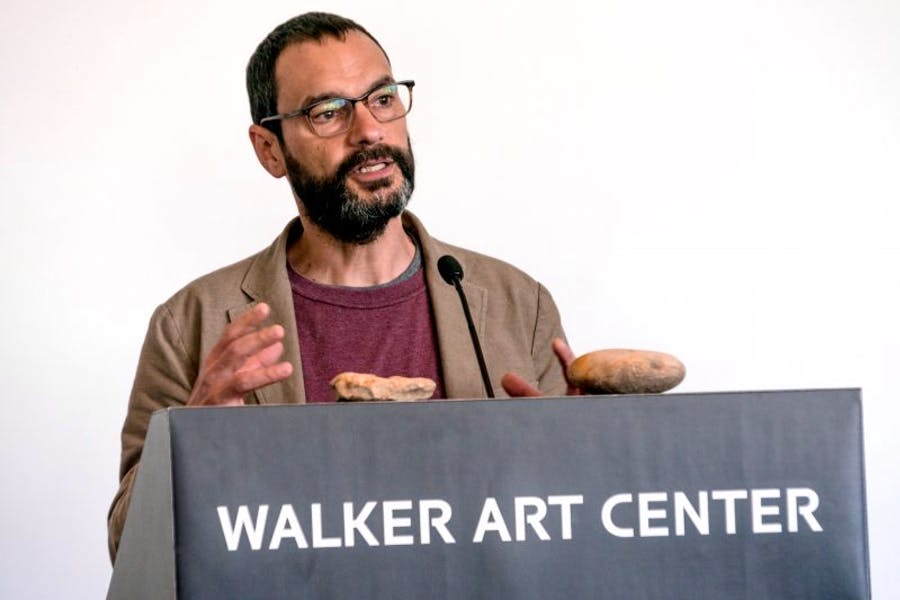Sam Durant discusses his controversial sculpture 'Scaffold' at the Walker Art Center earlier this year.