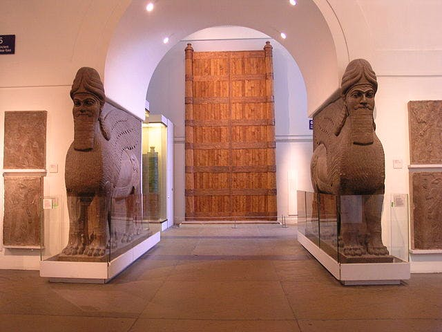 The entrance to the Assyrian galleries at the British Museum.