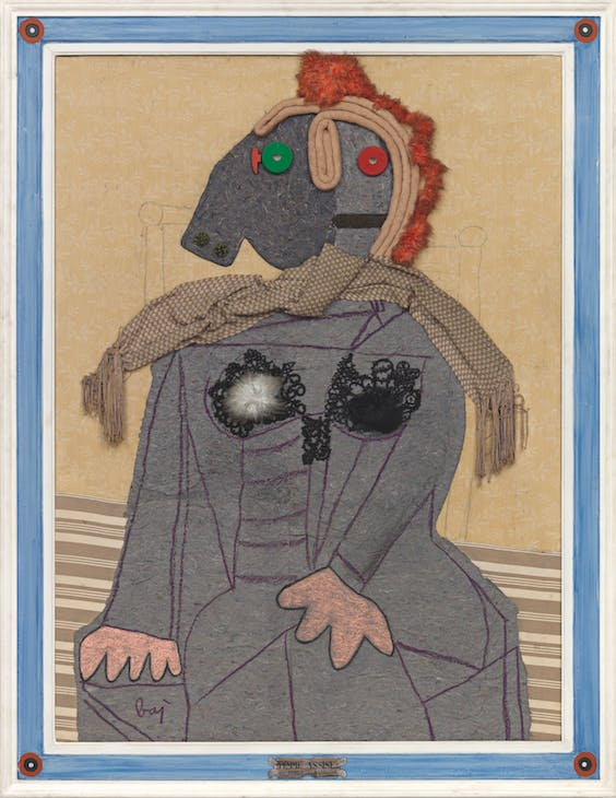 Femme Assise (1966), Enrico Baj. Luxembourg & Dayan