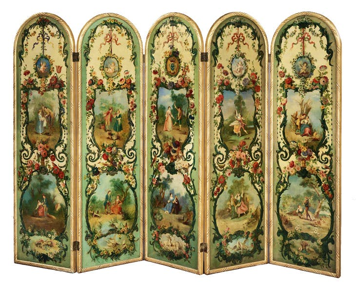 Five-fold screen (c. 1880), French. Butchoff Antiques at San Francisco Fall Art & Antiques Show
