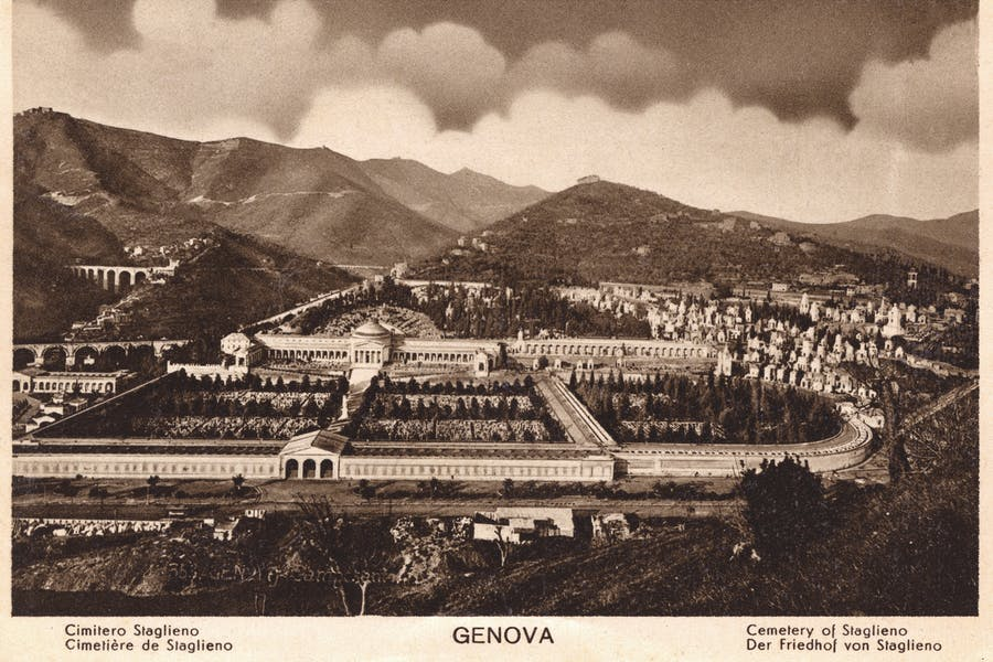 The monumental cemetery of Staglieno, Genoa, from a postcard produced in or around the 1920s