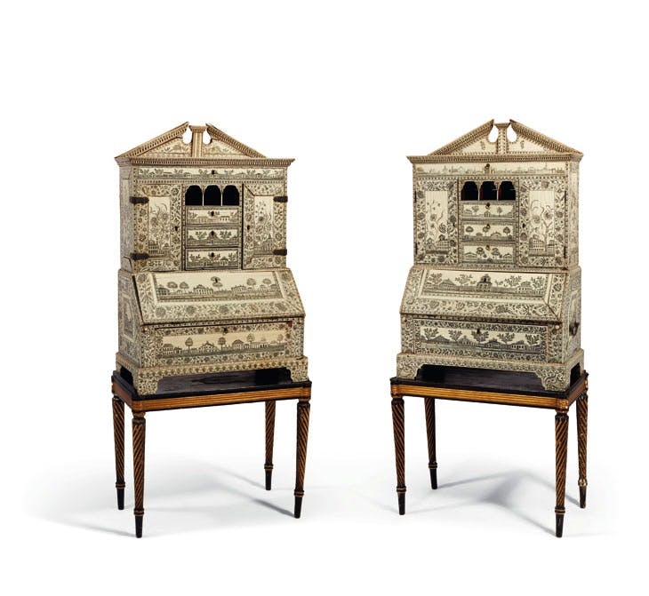 A pair of Anglo–Indian bureau–cabinets, late 18th century, Vizagapatam, ht 92cm. Christie's Paris: estimate €60,000–€100,000