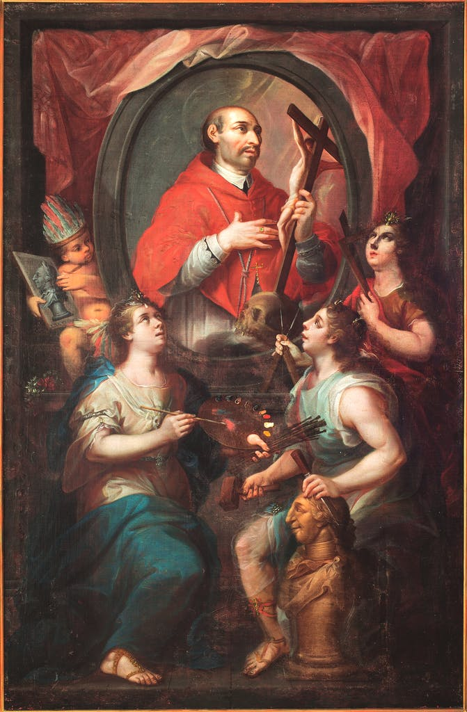 Saint Charles Borromeo and the Allegory of the Arts, (1782), attributed to Rafael Gutiérrez, Museo Nacional del Virreinato, Tepotzotlán