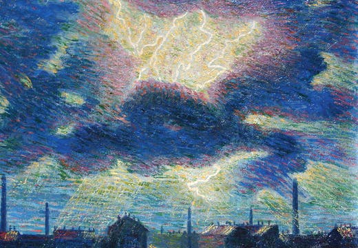 Lampi (Flashes) (detail; 1909–10), Luigi Russolo. Galleria dello Scudo at Flashback