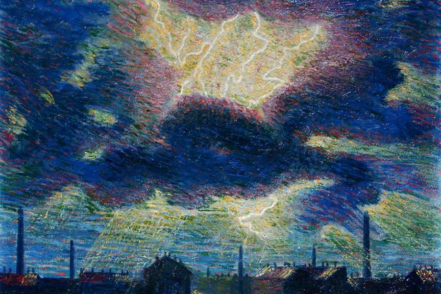 Lampi (Flashes) (detail; 1909–10), Luigi Russolo. Galleria dello Scudo at Flashback
