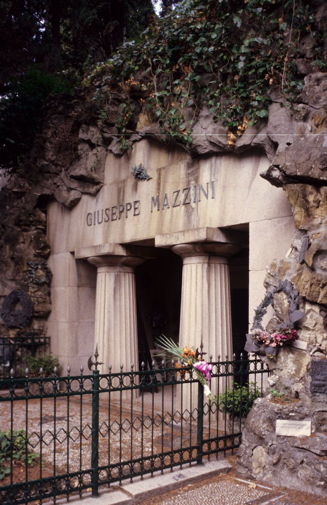 The tomb of Giuseppe Mazzini in the monumental cemetery of Staglieno, Genoa.