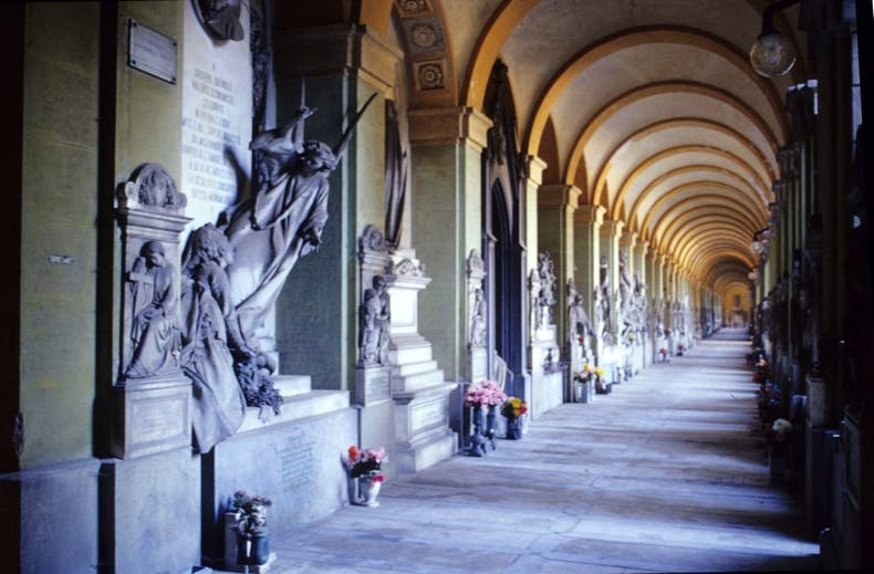A colonnade at the monumental cemetery of Staglieno, Genoa.