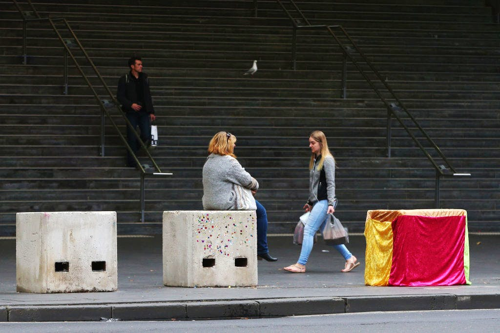Artwork on concrete blocks acting as bollards on 4 July, 2017 in Melbourne, Australia. Photo: Michael Dodge/Getty Images