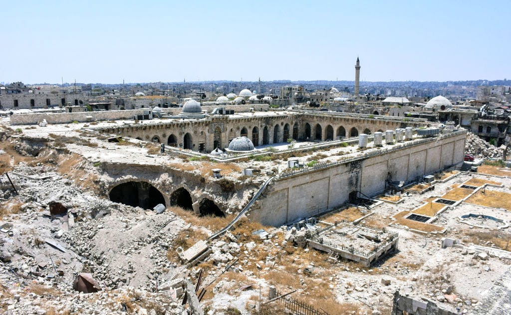 This photo taken on 22 July, 2017, shows the destruction at the site of the ancient Great Umayyad Mosque in Aleppo's old city. Photo: GEORGE OURFALIAN/AFP/Getty Images