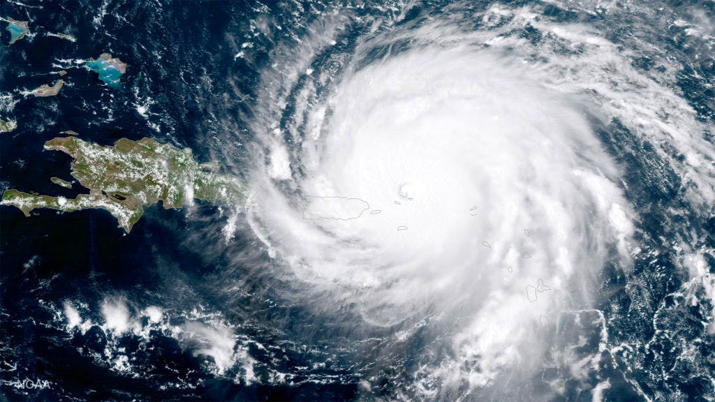 Hurricane Irma approaches Puerto Rico, 6 September 2017. Photo: NASA/NOAA GOES Project via Getty Images