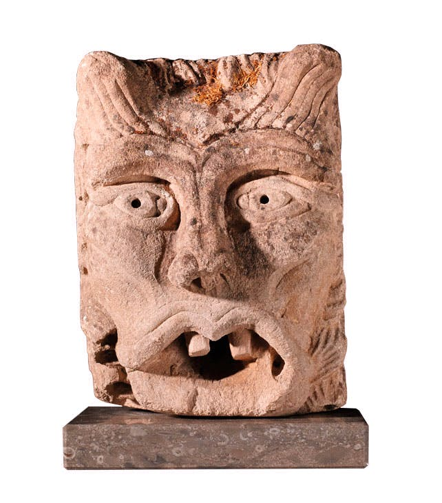 Green Man waterspout (c. 1150–1250), Anglo-Norman, Caen. Beedham Antiques Ltd at BADA Collection at The Lanesborough