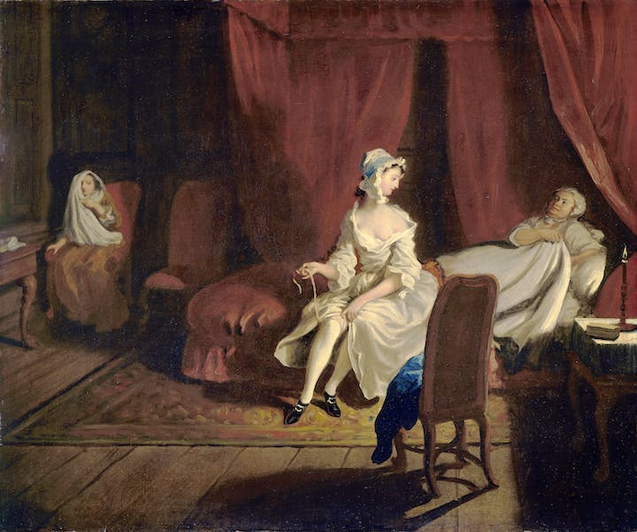 Pamela in the Bedroom with Mrs Jewkes and Mr B. (from Four Scenes from Samuel Richardson's Pamela; 1743–44), Joseph Highmore. © Tate, London 2015