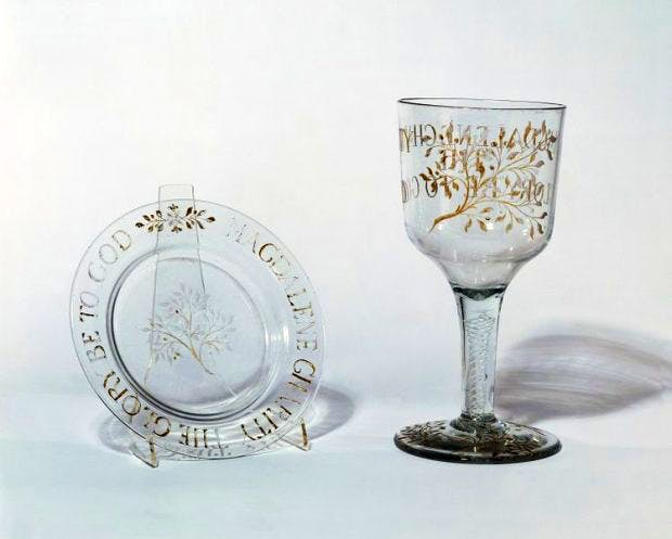 The glass cup and paten, made for use in Holy Communion celebrated in the Chapel of the Magdalen Hospital, Southwark, (1775) unknown maker, London, Victoria and Albert Museum, London