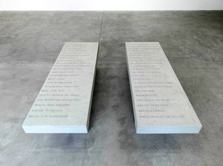 Memorial Bench I & II (1996), Jenny Holzer. Photo: Ken Adlard © 2015 Jenny Holzer, member Artists Rights Society (ARS), NY