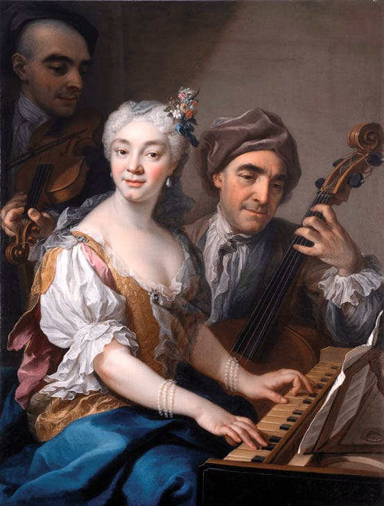 Portrait of the singer Cristina Somis with her father Lorenzo Francesco and her brother Giovanni Lorenzo (1728), Martin van Meytens the Younger. Galleria Benappi at Flashback