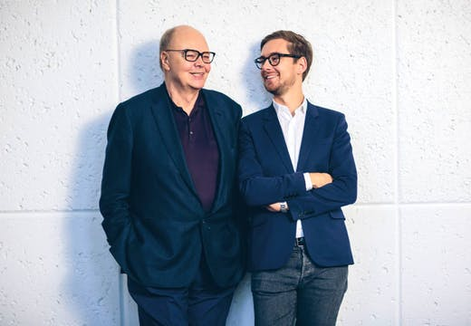 Nicholas and Alex Logsdail, respectively the founder and international director of Lisson Gallery. Photo: Rob Chamorro