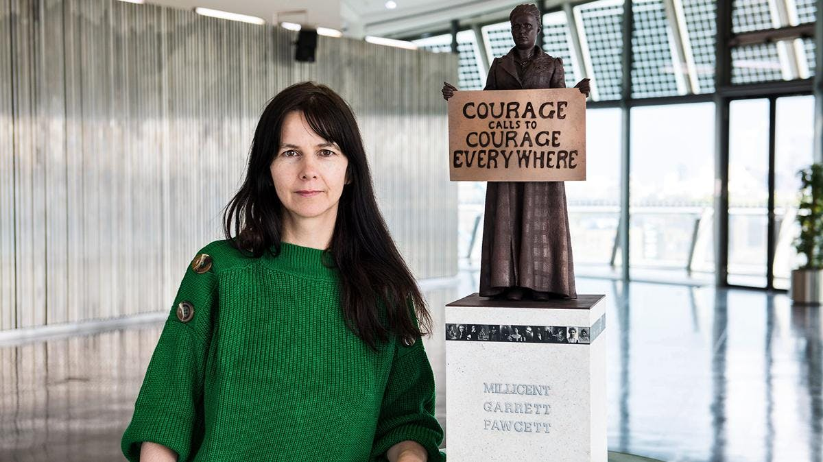 Artist Gillian Wearing with a model of her statue of Millicent Fawcett. Photograph: Caroline Teo/GLA/PA