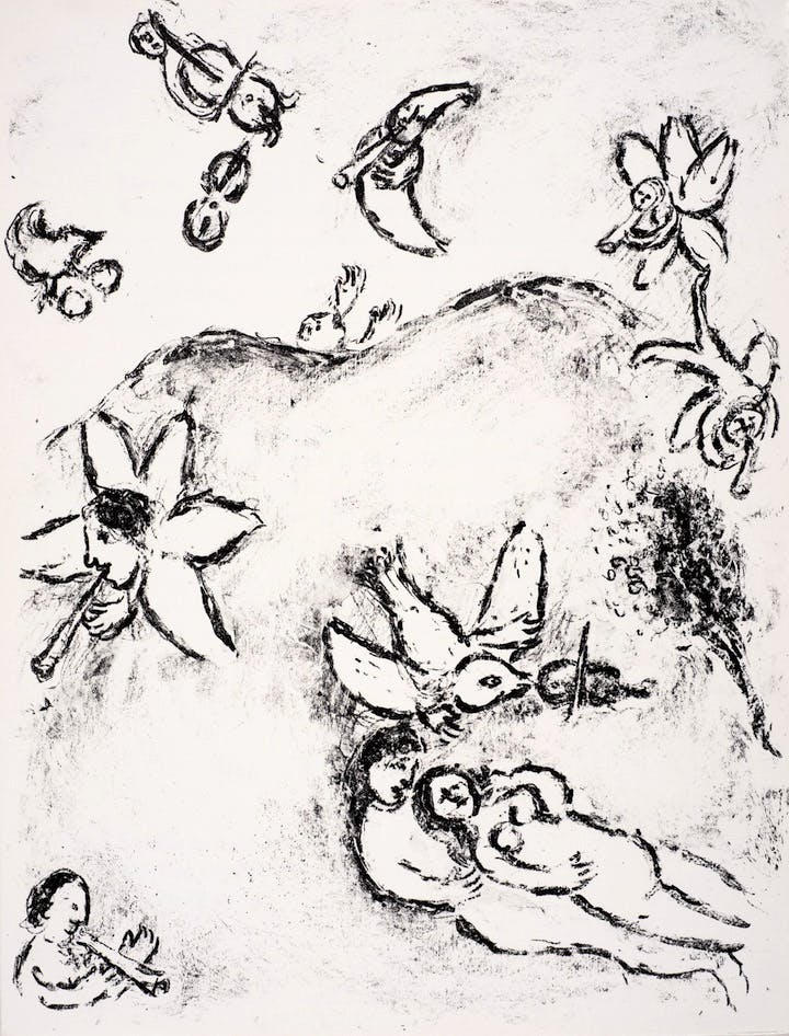An illustration from Marc Chagall's sketchbook inspired by William Shakespeare's The Tempest, printed in Paris in 1975. Chagall ® / © ADAGP, Paris and DACS, London 2017