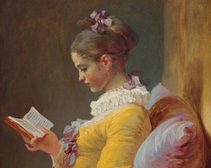 Young Girl Reading (detail; c. 1769), Jean Honoré Fragonard. National Gallery of Art, Washington