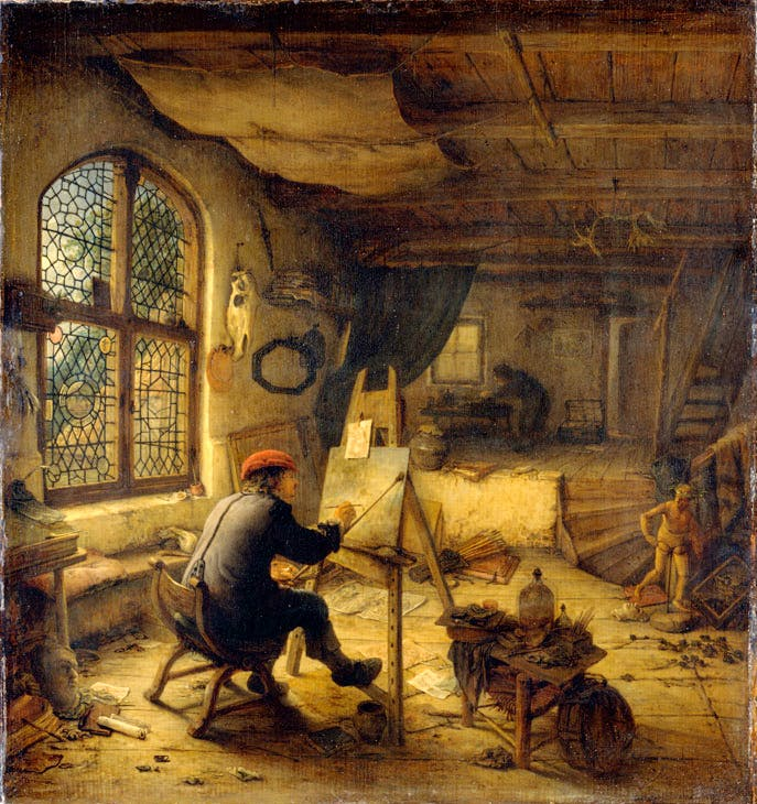 The painter in his workshop (1663), Adriaen van Ostade. © bpk, Staatliche Kunstsammlungen Dresden. Photo: Hans-Peter Klut
