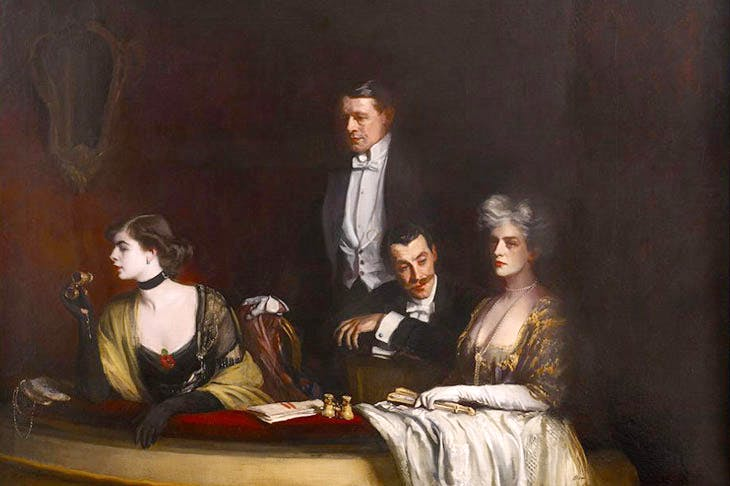 The Theatre Box, (detail; 1910), Oswald Birley. Private collection