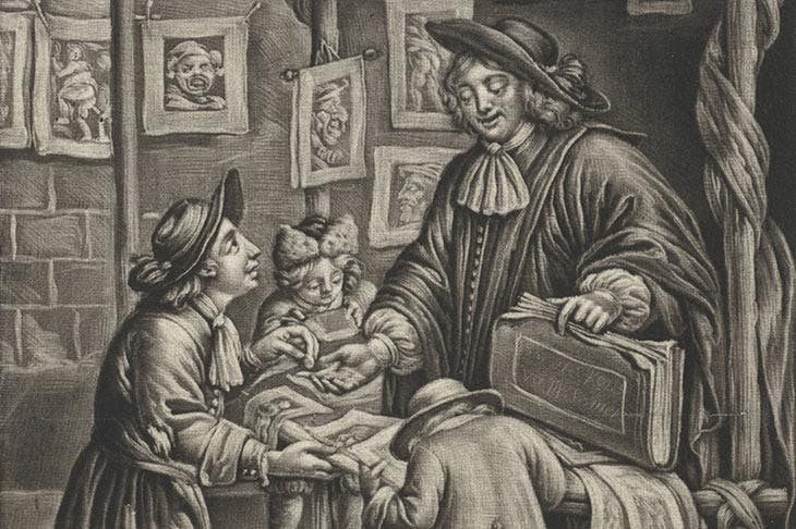 The print sller (detail; 1675–96), Jan van Somer. Photo © Rijksmuseum, Amsterdam