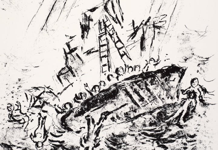 Detail of an illustration from Marc Chagall's sketchbook inspired by William Shakespeare's The Tempest, printed in Paris in 1975. Chagall ® / © ADAGP, Paris and DACS, London 2017