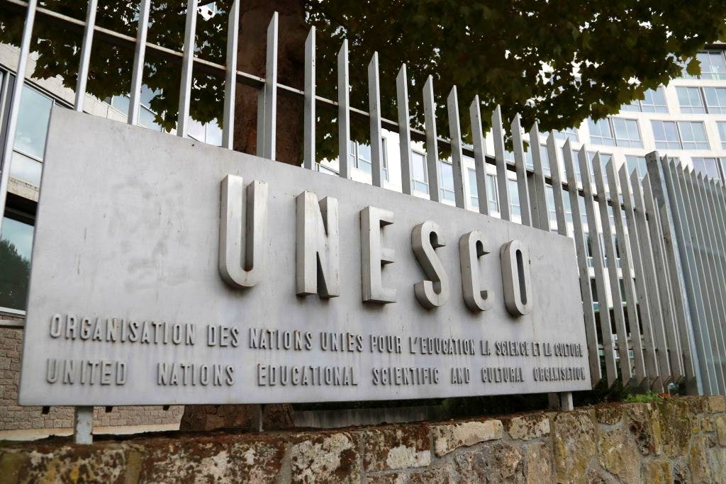 A picture taken on 12 October, 2017 shows the logo of the UNESCO headquarters in Paris. The United States and Israel have both announced their intention to withdraw from the organisation. JACQUES DEMARTHON/AFP/Getty Images