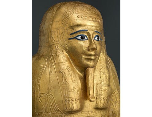 Gilded coffin lid for the priest Nedjemankh (detail; late Ptolemaic Period, 150–50 BC). © The Metropolitan Museum of Art