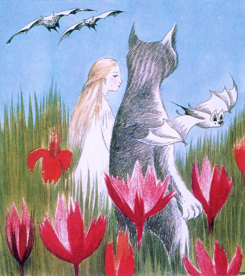 Colour illustration of Alice and Dinah for Alice i Underlandet (Alice in Wonderland; Albert Bonniers Förlag, 1966), Lewis Carroll, trans. Åke Runnquist with illustrations by Tove Jansson.