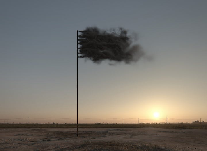 Western Flag (Spindletop Texas) (3D simulation; 2017), John Gerrard. Courtesy of the artist and Simon Preston Gallery, New York & Thomas Dane Gallery, London, © John Gerrard