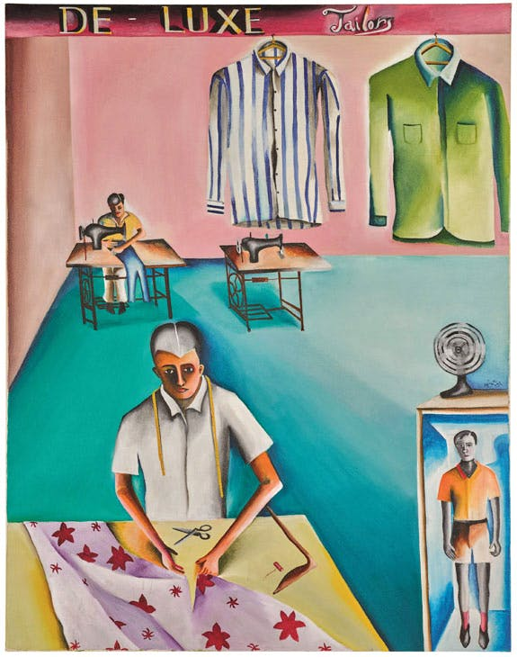 De-luxe tailors (1972), Bhupen Khakhar. Sotheby's London, £250,000–350,000. © Sotheby's