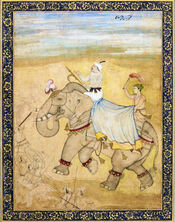 Emperor Akbar riding an elephant on a hunting expedition (early 17th century), Mughal. Sotheby's London, £12,000–18,000. © Sotheby's