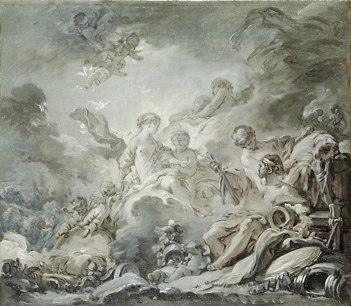 Vulcan's Forge (Vulcan presenting Venus with Arms for Aeneas) (1756), François Boucher. © Paris, Les Arts Décoratifs / Jean Tholance