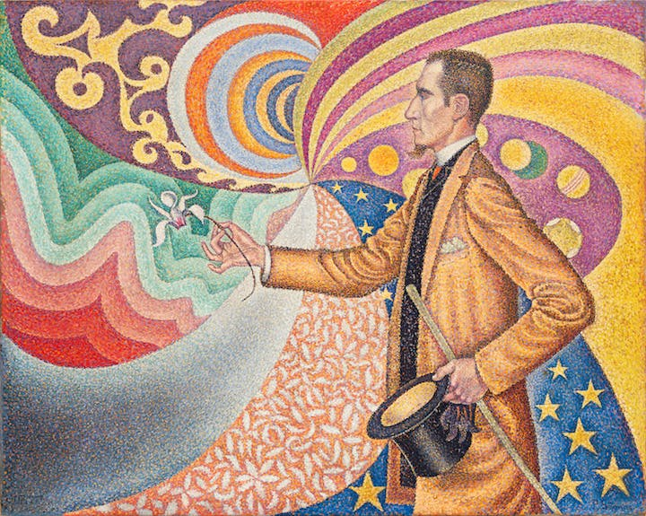 Opus 217. Against the Enamel of a Background Rhythmic with Beats and Angles, Tones, and Tints, Portrait of M. Félix Fénéon in 1890 (1980), Paul Signac. Courtesy of the Museum of Modern Art, New York
