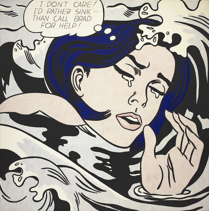 Drowning Girl (1963), Roy Lichtenstein. © Estate of Roy Lichtenstein New York, Adagp, Paris 2017